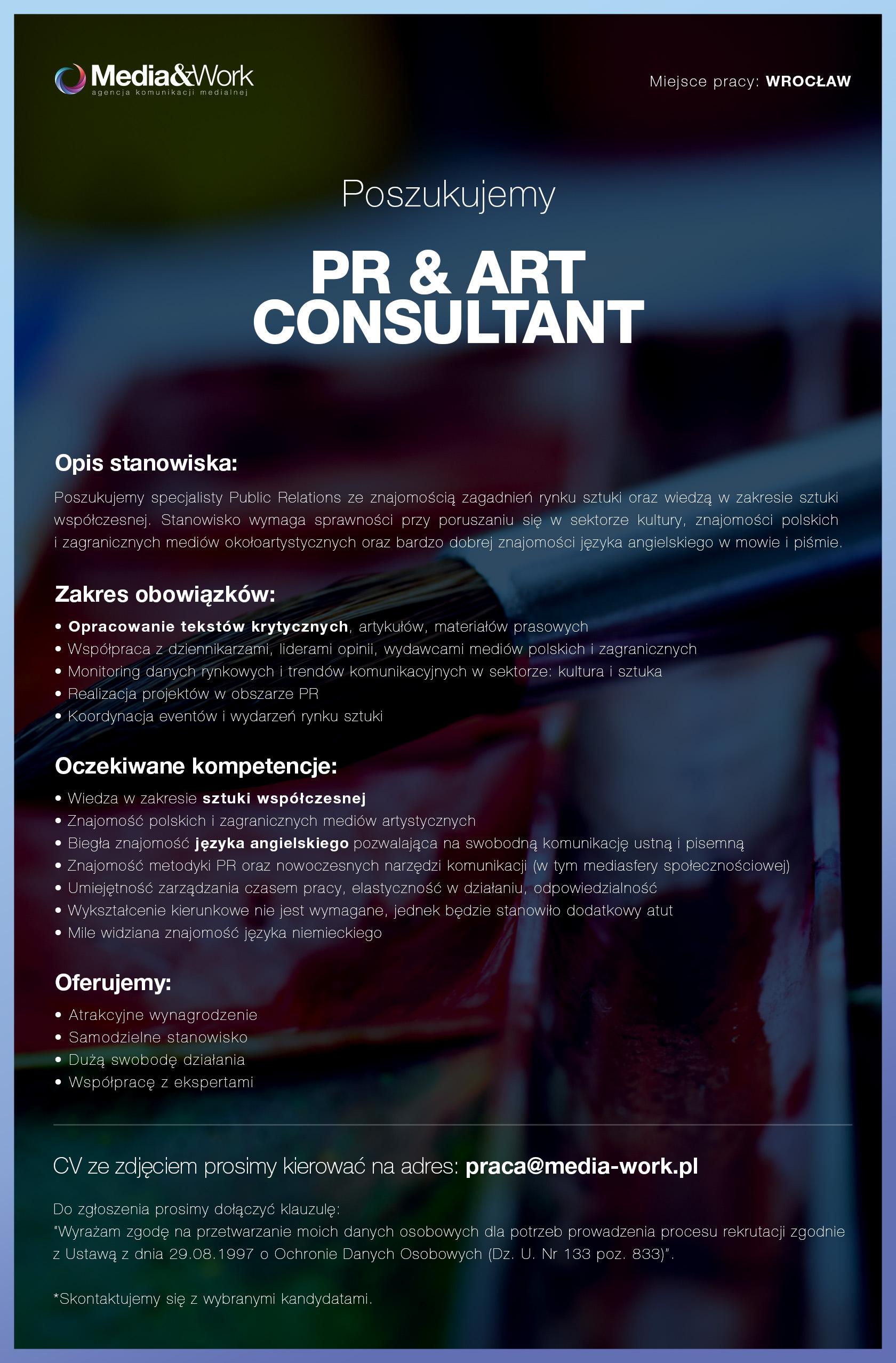 Praca w Media&Work PR & ART CONSULTANT