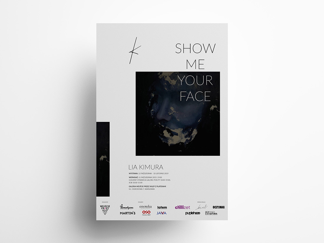 Plakat wystawy Show me your face Lii Kimury